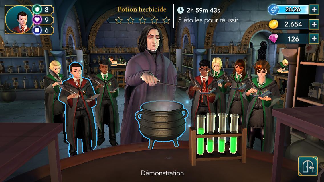 En cours de potions c'est 6 Serpentard pour 2 Gryffondor